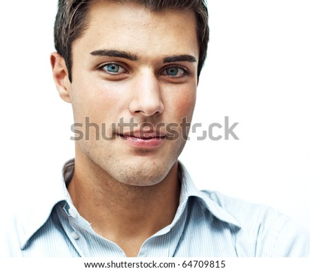 Serious young man close portrait - stock photo