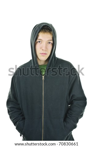 Serious young man standing wearing hoodie isolated on white background - stock photo