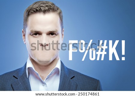 Serious young man without a mouth on a blue background with the letters - stock photo