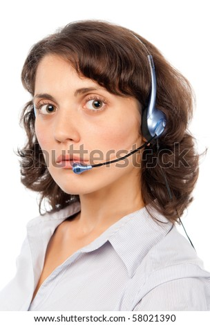 Seriously pretty girl with headset