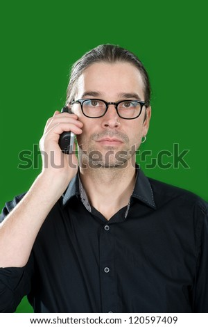 seriously telephone call - stock photo