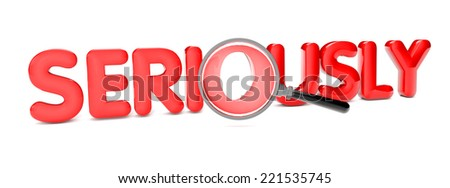seriously text isolated on white background