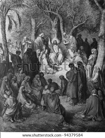 Sermon on the Mount. 1) Le Sainte Bible: Traduction nouvelle selon la Vulgate par Mm. J.-J. Bourasse et P. Janvier. Tours: Alfred Mame et Fils. 2) 1866 3) France 4) Gustave Doré - stock photo