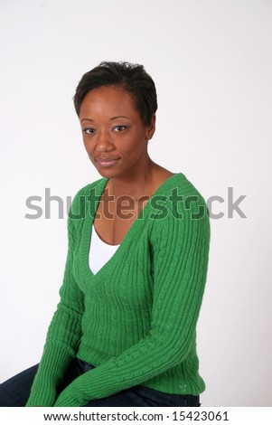 Serous and thoughtful black woman - stock photo