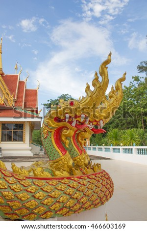 serpent king or king of naga statue in thai temple