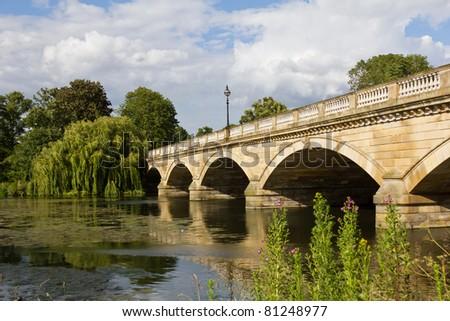 Serpentine Bridge in Hyde Park, London, UK - stock photo