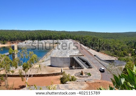 Serpentine dam with the Serpentine river, roadway and lush greenery in Serpentine, Western Australia/Landscape at Serpentine Dam/Serpentine, Western Australia - stock photo