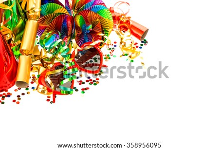 Serpentine, garlands, streamer and confetti. Carnival party decoration. Mardi gras - stock photo
