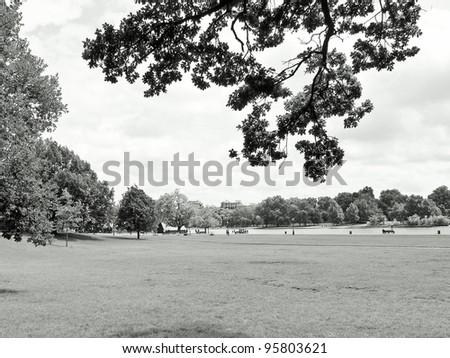 Serpentine lake river in Hyde Park Kensington Gardens London UK - stock photo