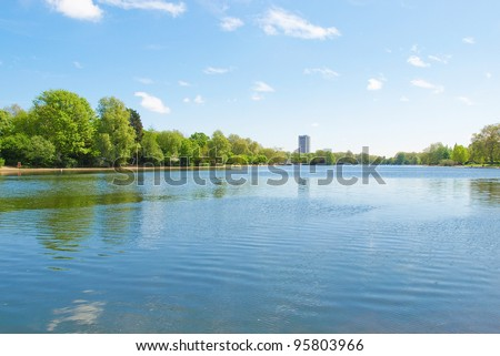 Serpentine lake river in Hyde Park, London, UK - stock photo
