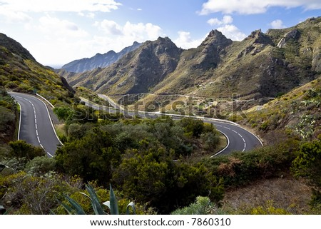 Serpentine scenery in the way to the Teide volcano, Canary islands - stock photo