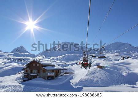 SERRE CHEVALIER, FRANCE - DECEMBER 31 : French ski resort Serres Chevalier in southeastern France on December 31st 2010 in Serre Chevalier, France - stock photo