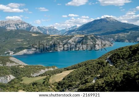 Serre-Ponçon Lake (Alp- France) - stock photo