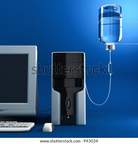 Serum to the old/sick computer. 3D illustration.. high resolution rendered.. - stock photo