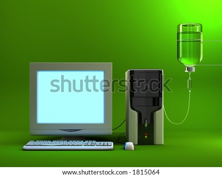 Serum to the old/sick computer. This time you can place any image to the screen. - stock photo