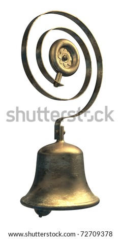 Servants service bell in brass or bronze - stock photo