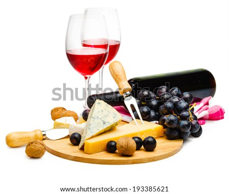 served cheese and wine isolated on white background - stock photo
