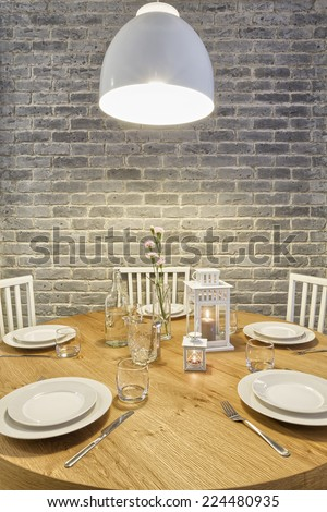 Served Dining Table - stock photo