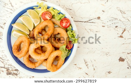 Served fried squid rings and salad in the plate,selective focus and blank space  - stock photo