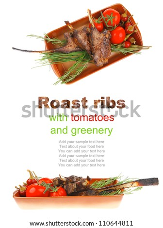 served main course: boned roasted ribs served with raw cherry tomatoes and fresh vegetables