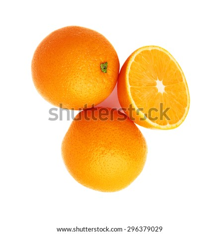 Served orange fruit composition isolated over the white background, top view - stock photo