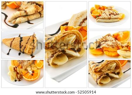 served pancakes with chocolate cream on white - stock photo