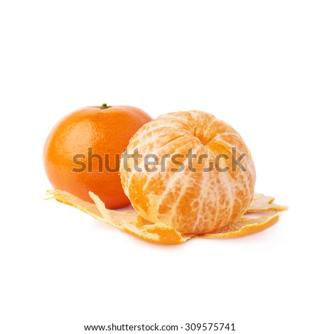 Served ripe juicy two tangerines fruit composition isolated over the white background, peeled and unpeeled - stock photo