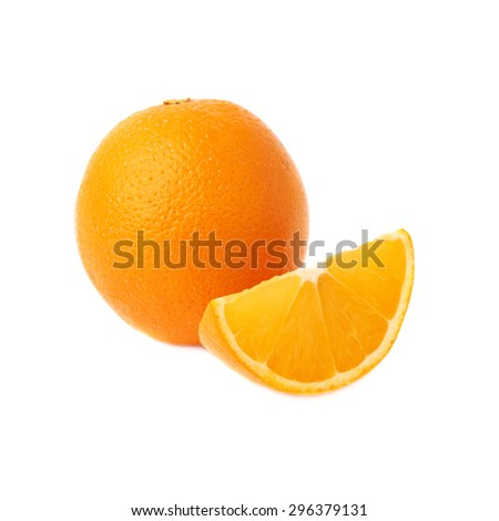 Served ripe orange fruit composition isolated over the white background - stock photo