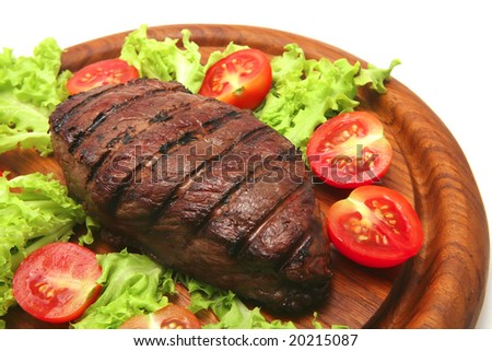 served roasted beef meat steak - stock photo