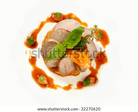 Served roasted beef top view - stock photo