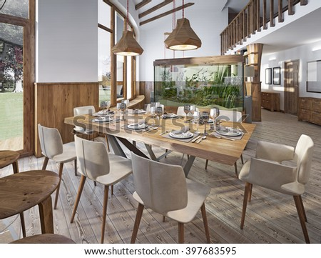 Served table for eight in the dining room in the loft with high ceilings. Dining room with a large aquarium on a high pedestal. 3D render. - stock photo