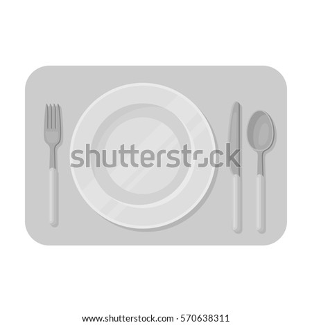 Served table icon in monochrome style isolated on white background. Rest and travel symbol stock bitmap,raster illustration.