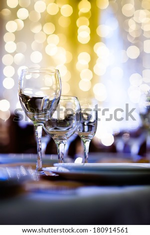 Served table in a restaurant at the holiday eve - stock photo