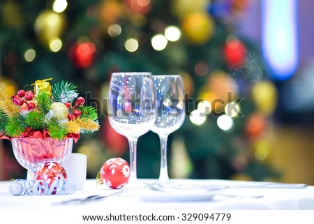 served table in home decorated for Christmas