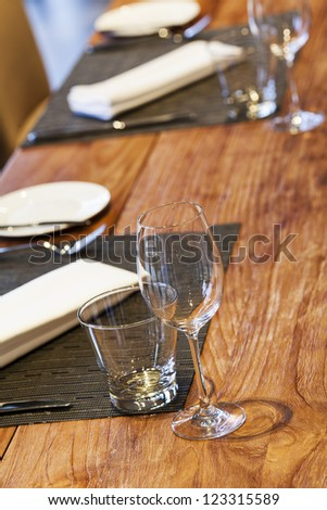 Served table. Vertical shot. - stock photo
