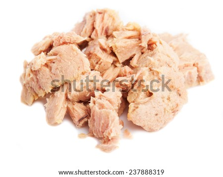 served tuna isolated on a white background - stock photo