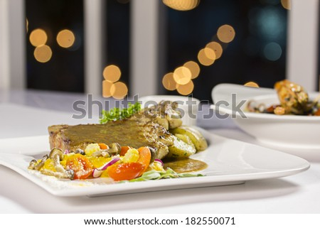 Served with steak  - stock photo
