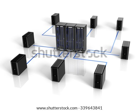 Server and computer - computer netwokr and communication concept - stock photo