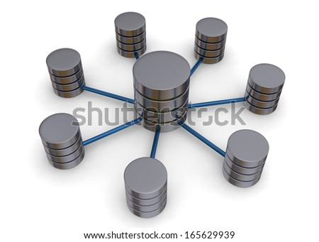 Server and Network - 3D - stock photo