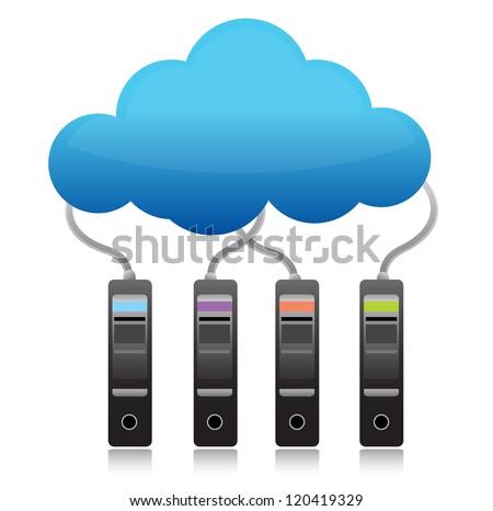 server backup cloud computing concept illustration design over white - stock photo