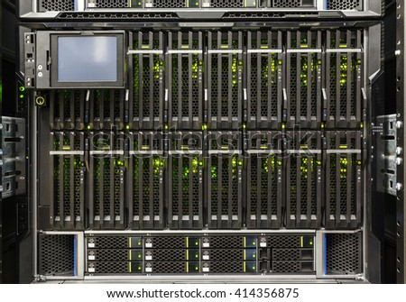 server chassis, the platform virtualization in the data center server rack and failed blade server - stock photo