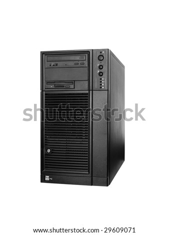 Server computer tower in black color isolated on white background. - stock photo