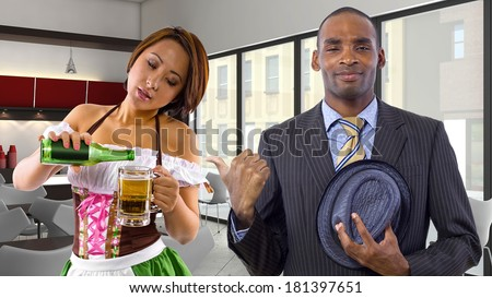 Server dressed in St Patrick's Day costume and customer - stock photo