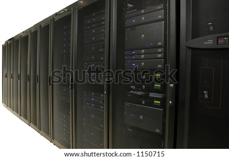 Server Farm or Data Center - Isolated.  Several racks of 1u and 2u servers in black cabiniets.  Image is isolated on white background. - stock photo