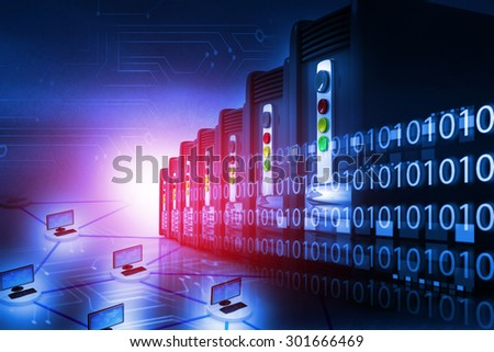 Server farm with computer network	 - stock photo