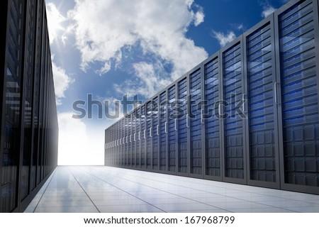 Server hallway in the sky - stock photo