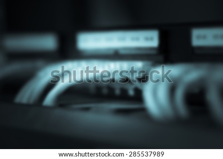 Server Internet Connected with LAN cables. - stock photo