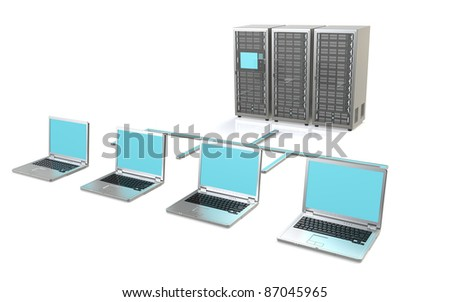 Server Network. 3 Server Racks and Laptops - stock photo