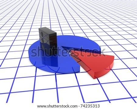 server on pie chart - stock photo