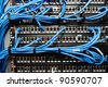 Server panel with cables and connectors - stock photo